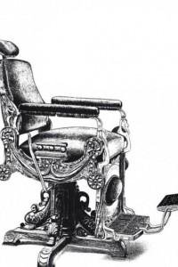 Dekorowany fotel fryzjerski